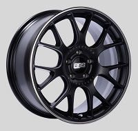 BBS CH-R 18x8 5x100 ET38 Satin Black Polished Rim Protector Wheels -70mm PFS/Clip Required