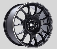 BBS CH 19x8.5 5x100 ET30 Satin Black Polished Rim Protector Wheels -70mm PFS/Clip Required
