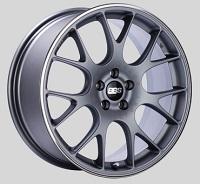 BBS CH-R 18x8 5x100 ET38 Satin Titanium Polished Rim Protector Wheels -70mm PFS/Clip Required