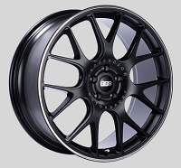 BBS CH-R 19x8 5x114.3 ET38 Satin Black Polished Rim Protector Wheels -82mm PFS/Clip Required