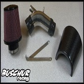 Buschur Racing Evo X Mass Air Pipe w/ Filter Kit & CF Shield (Brushed) - EVO X
