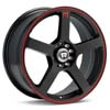 "Motegi MR116 Black w/Red Stripe 18"" Rims Set (4) EVO X"